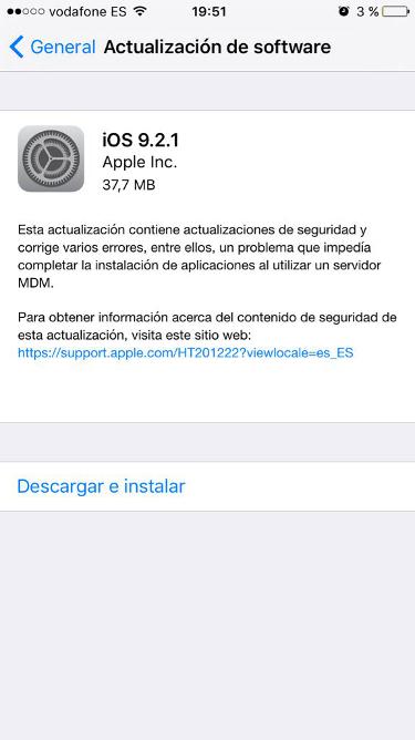 iOS 9.2.1 iPhone