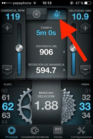 Marchas de bicicletas app iphone