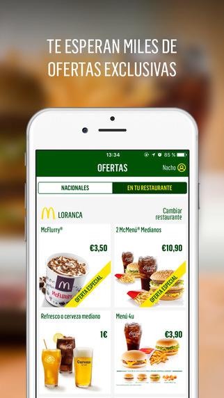 app de comida y bebida Mcdonald's