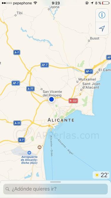 Interfaz Mapas de iOS 10