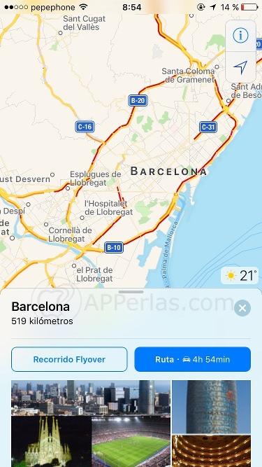 Opciones de Mapas de iOS 10