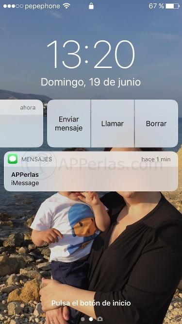 Funciones de Notificaciones de iOS 10 en pantalla de bloqueo