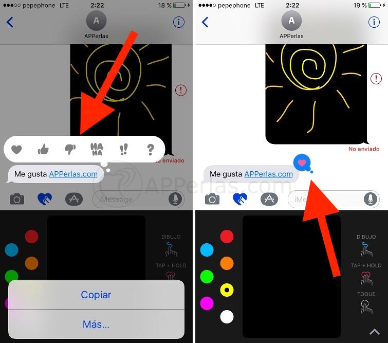 Respuestas rápidas de imessage en iOS 10