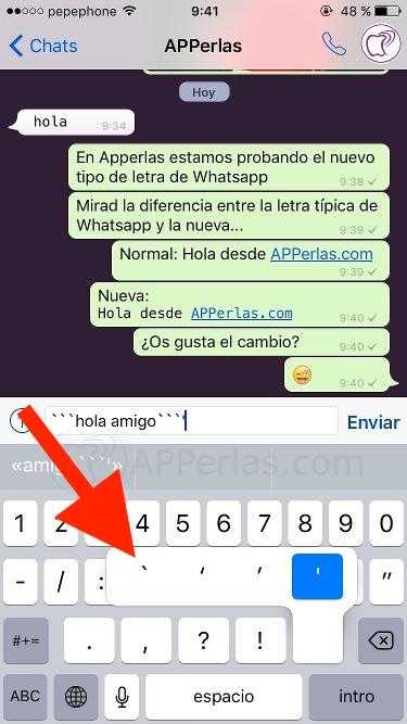 Cambiar tipografía de letra en Whatsapp