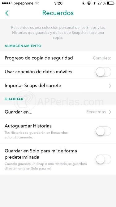 Configuración de Snapchat recuerdos