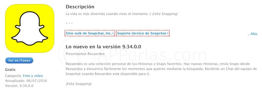 Nuevo Snapchat con recuerdos