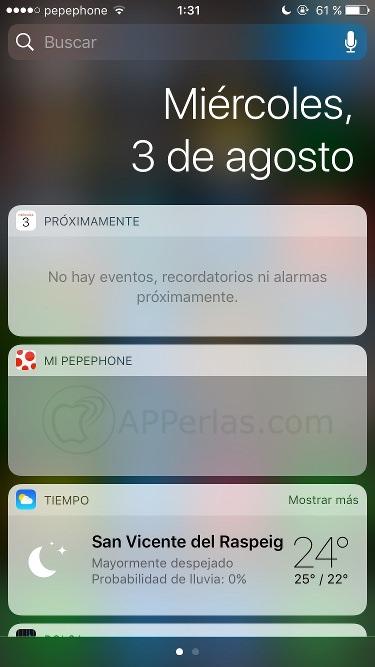 Fallos de iOS 10 widget