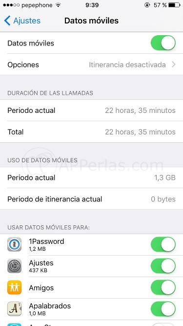 Menú de datos móviles