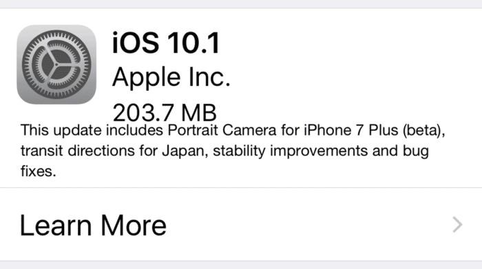 ios 10.1 iPhone y iPad