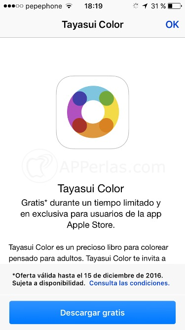 Save € 1.99 for the Tayasui Color coloring app for adults