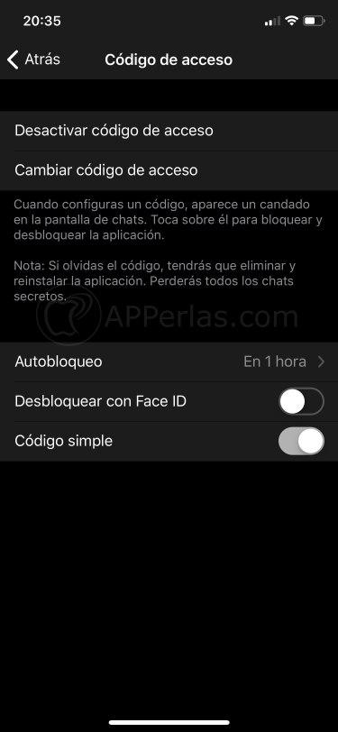 Configura el código de bloqueo en Telegram