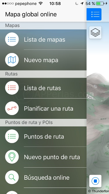 Menú de Maps 3D PRO