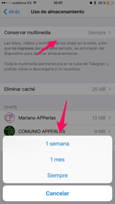 espacio en Telegram 2
