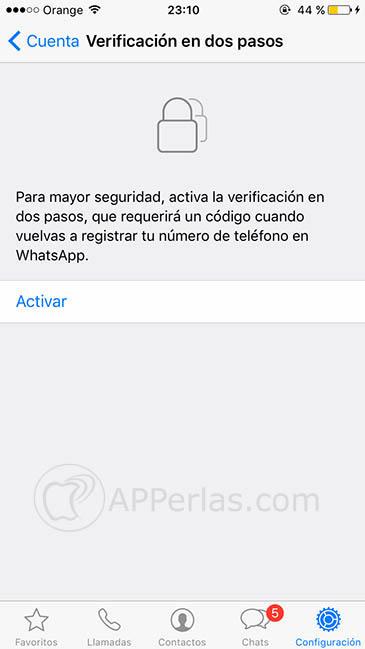 Verificación en dos pasos de WhatsApp 2