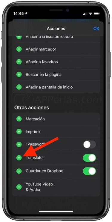 Activa la acción Translator en Safari
