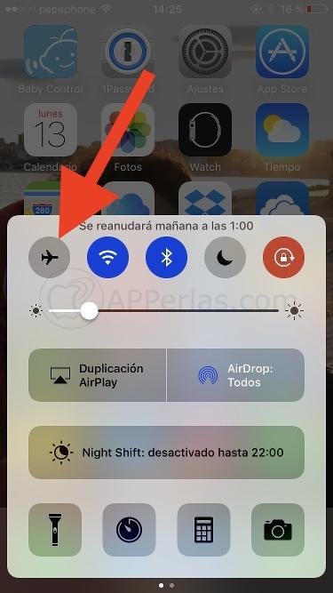 Cargar el iPhone en modo avión