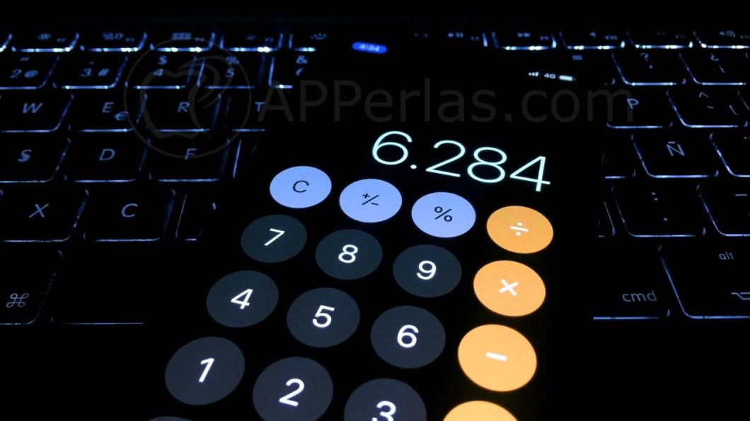 Interfaz de la calculadora del iPhone
