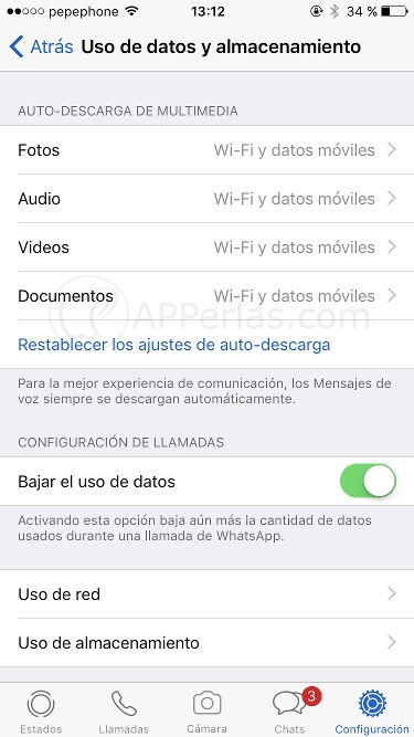 Streaming de Whatsapp si afecta al consumo de datos