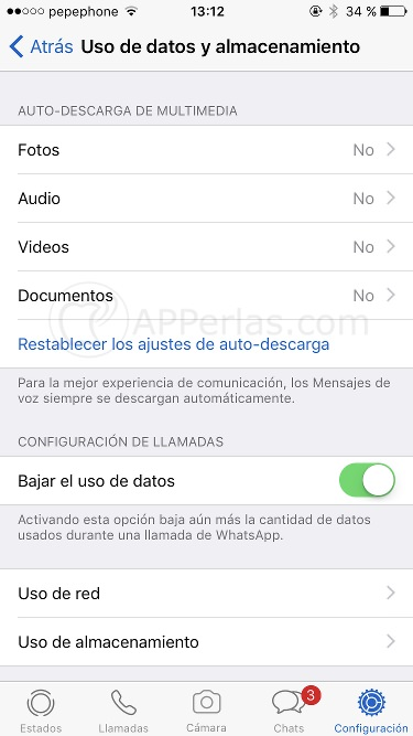 Gestión de la auto-descarga en Whatsapp 2
