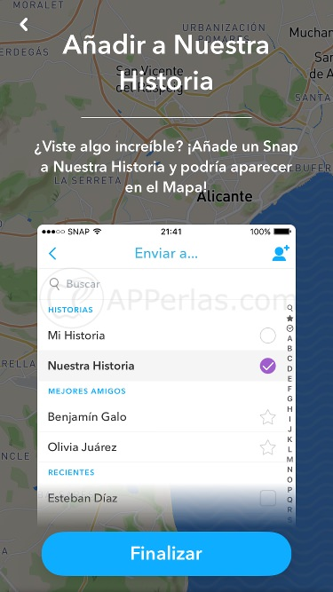 Cómo aparecer en el Snap Map