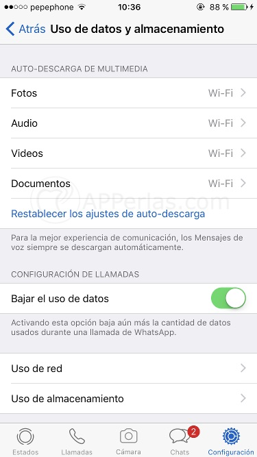 auto-descarga de vídeos en Whatsapp