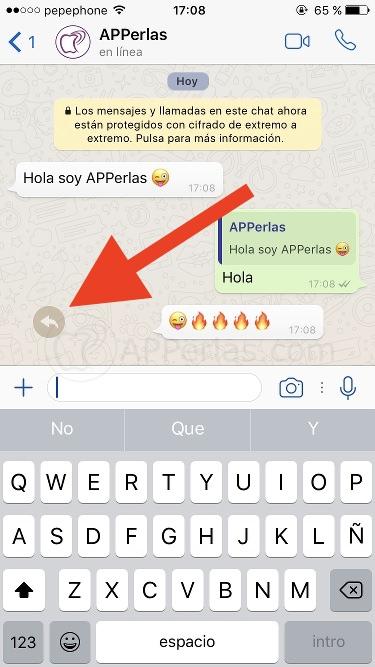 Atajo de respuesta en Whatsapp