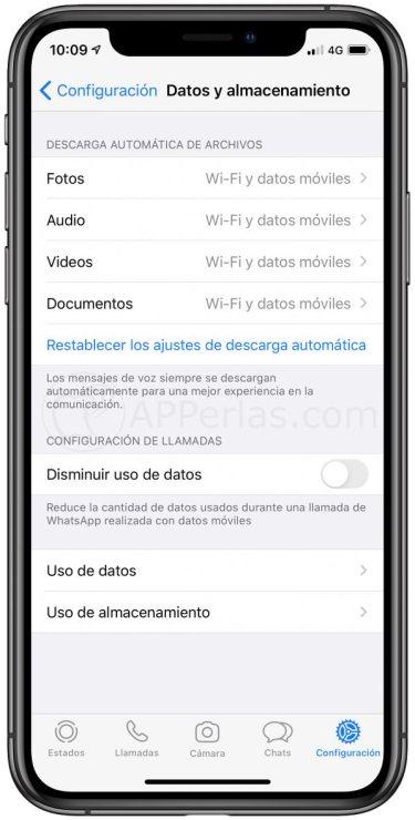 Descarga automática de archivos en WhatsApp