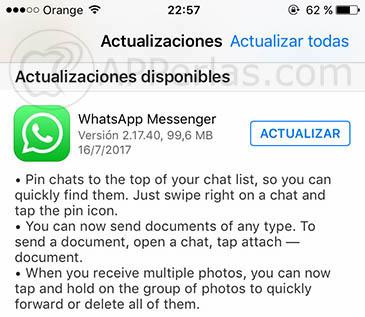 nueva actualización de WhatsApp 1