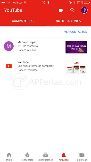 Notificaciones de nuevos chat de vídeo