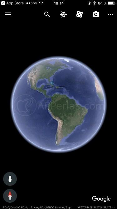 Interfaz de la app Google Earth