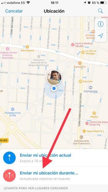 ubicación en Telegram