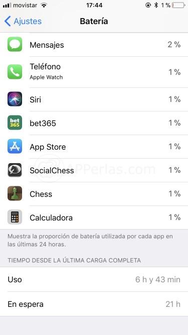 Autonomía de batería con iOS 11.1