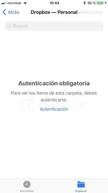 Acceso a Dropbox desde la aplicación Archivos