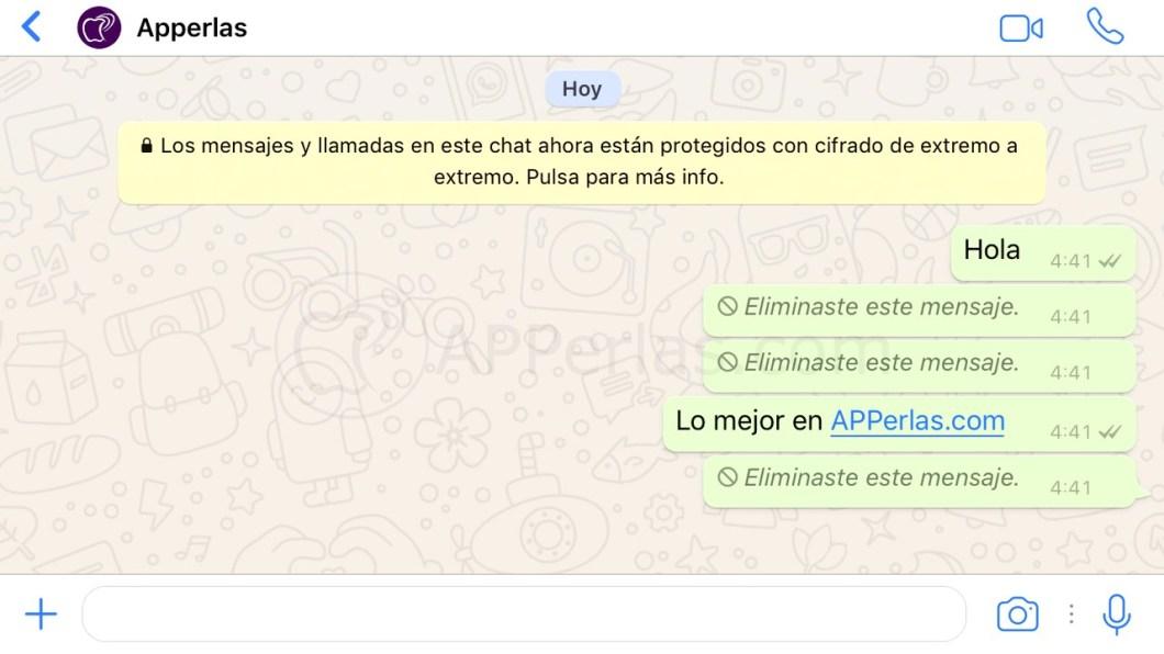 Borrar mensajes de Whatsapp