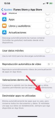 Activa la opción de eliminar aplicaciones automáticamente en iOS 11