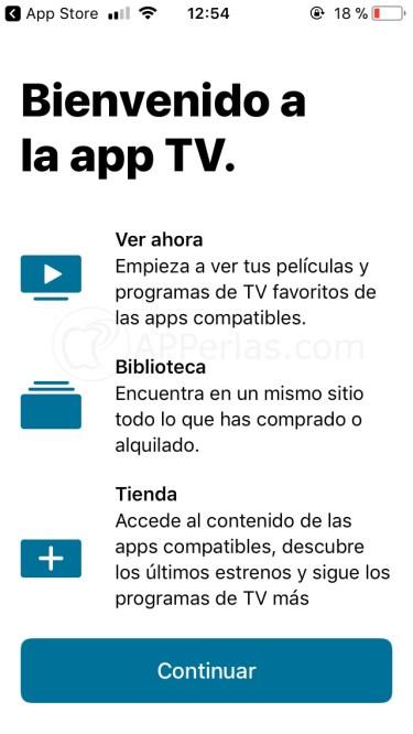 Aplicación TV de Apple para iOS