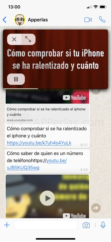 PiP de vídeos de Youtube en Whatsapp