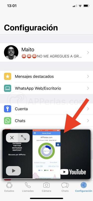 Ver vídeos en cualquier menú y chat de Whatsapp