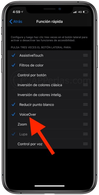 Desactiva, sobre todo, la opción VoiceOver