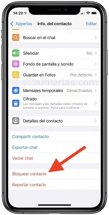 Bloquear en Whatsapp un contacto