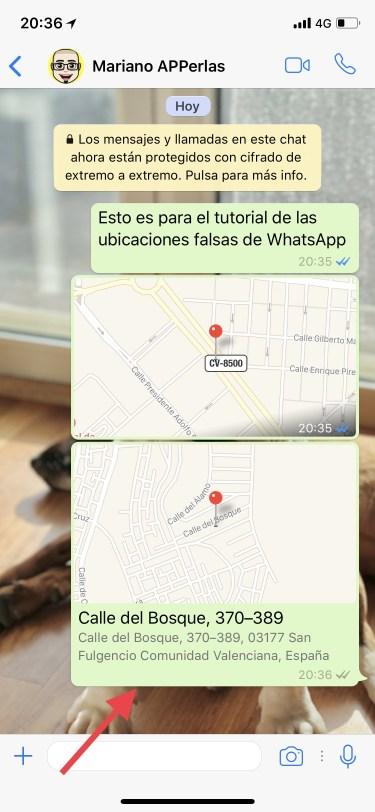 una ubicación falsa por WhatsApp 2