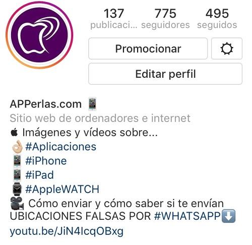 Hashtag en la bio de Instagram