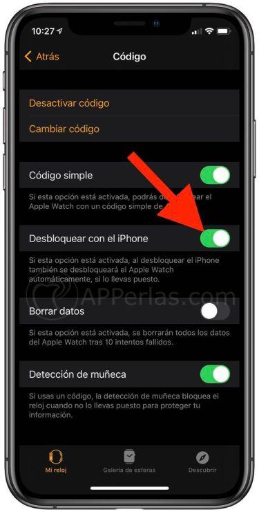 Activar la opción de desbloquear con el iPhone