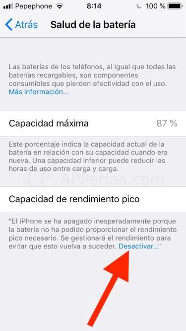 Desactivar función bateria iOS