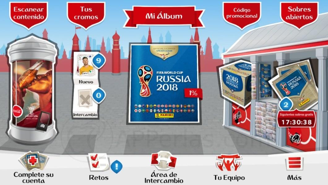 Pantalla principal de la app del álbum del Mundial 2018