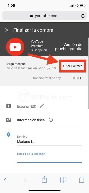 Suscripción a Youtube Premium desde navegador web