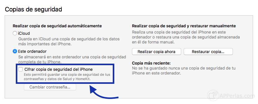 guardar contraseñas de iOS copia de seguridad encriptada