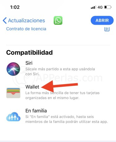 Whatsapp compatible con Wallet
