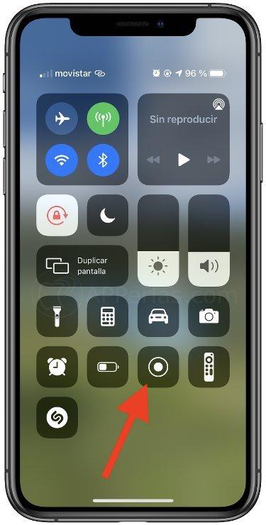 Opción para grabar la pantalla del iPhone