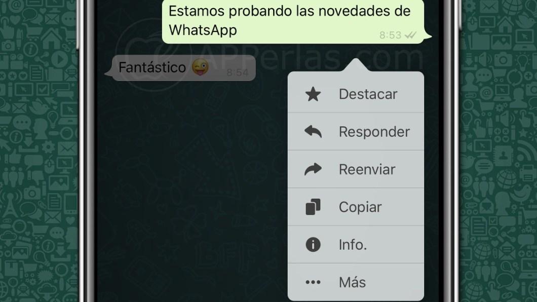 Nuevo menú en WhatsApp